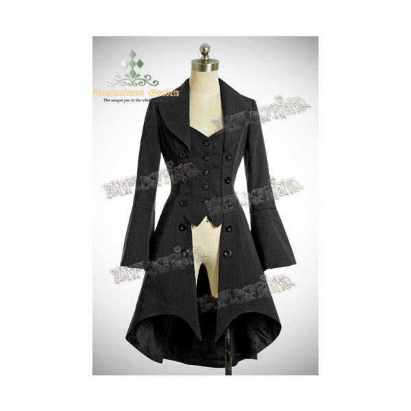 Pirate Lolita Elegant Gothic Long Tuxedo Tail Jacket ❤ liked on Polyvore featuring outerwear, jackets, coats, dresses, lolita, gothic jacket, long tuxedo jacket, long jacket, tux jacket and pirate jacket