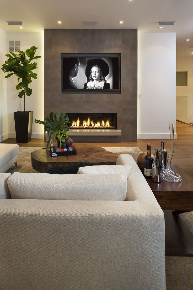 Modern living room and fireplace