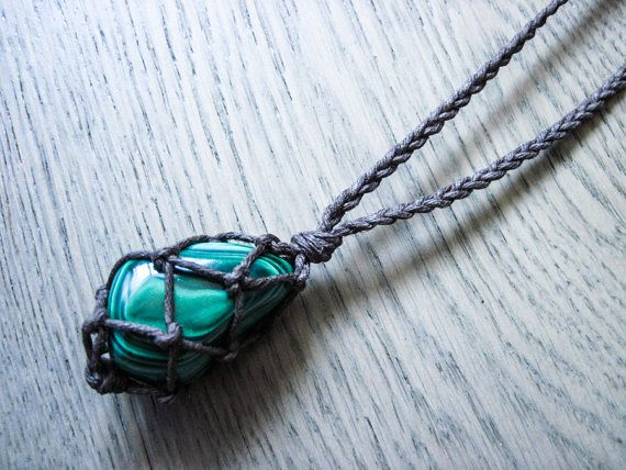Malachite Necklace Healing Crystal Jewelry Healing by AuraHemp