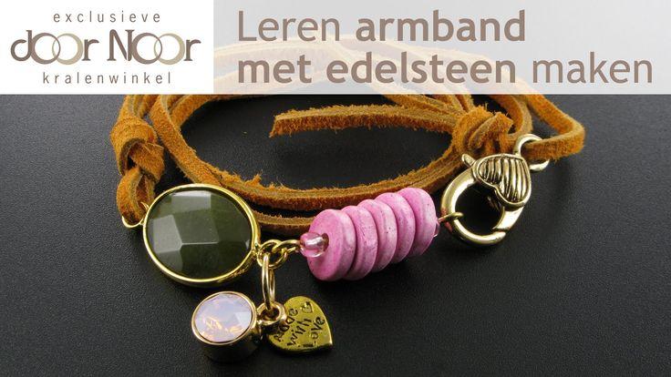 Zelf armband maken met een leren veter en een edelsteen? ✓ Bekijk voorbeelden van leren armbanden op door-noor.nl ✓ Je ziet precies wat je nodig hebt voor de...