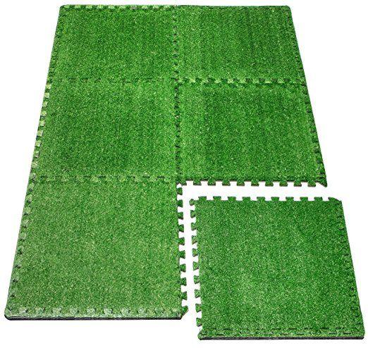 "Amazon.com : Sorbus Grass Mat Interlocking Floor Tiles- Soft Artificial Grass Carpet - Multipurpose Foam Tile Flooring (6 Tiles 24"" X 24"" Each Total of 24 Square Feet) Great for Patio, Playroom, Gym, Tradeshow : Patio, Lawn & Garden"