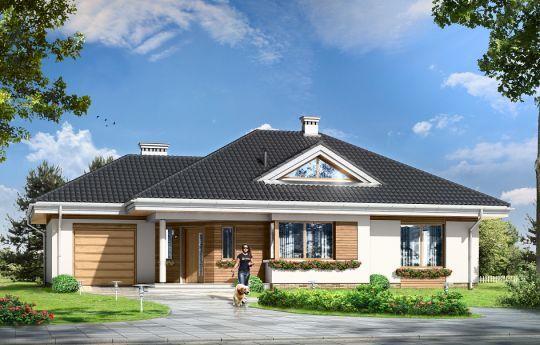 Pracownia ma przyjemność zaprezentować Państwu nowoczesny, parterowy projekt domu dla cztero-pięcioosobowej rodziny. Projekt Rozwojowy zbudowany jest na planie litery L, z dobudowanym garażem. Cały program funkcjonalny domu znajduje się na parterze, a dodatkowo powyżej zaprojektowano duży strych, który można zaadaptować na poddasze użytkowe.