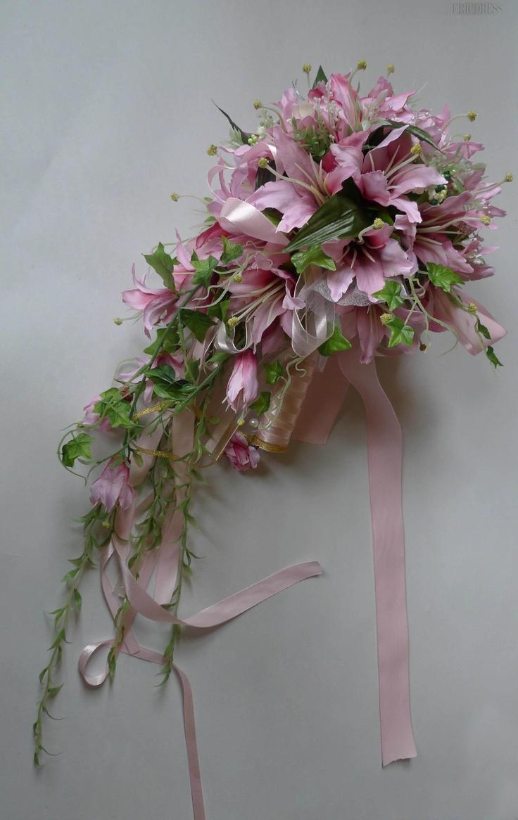 Pretty Rose Silk Cloth Lily Wedding Bridal Bouquet with Pink Ribbon-bj004