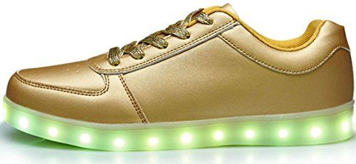 Unisex LED Sneaker Schuhe Blinkschuhe Leuchtschuhe Damen Herren Silver Gold Lowcut (42, Gold) - http://on-line-kaufen.de/verstrahlt/42-eu-unisex-led-sneaker-schuhe-blinkschuhe-damen-3