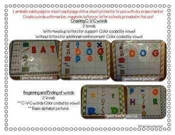Creating Picture Perfect C-V-C Words {Word Work Centers and printables} 4 differentiated literacy centers...   $