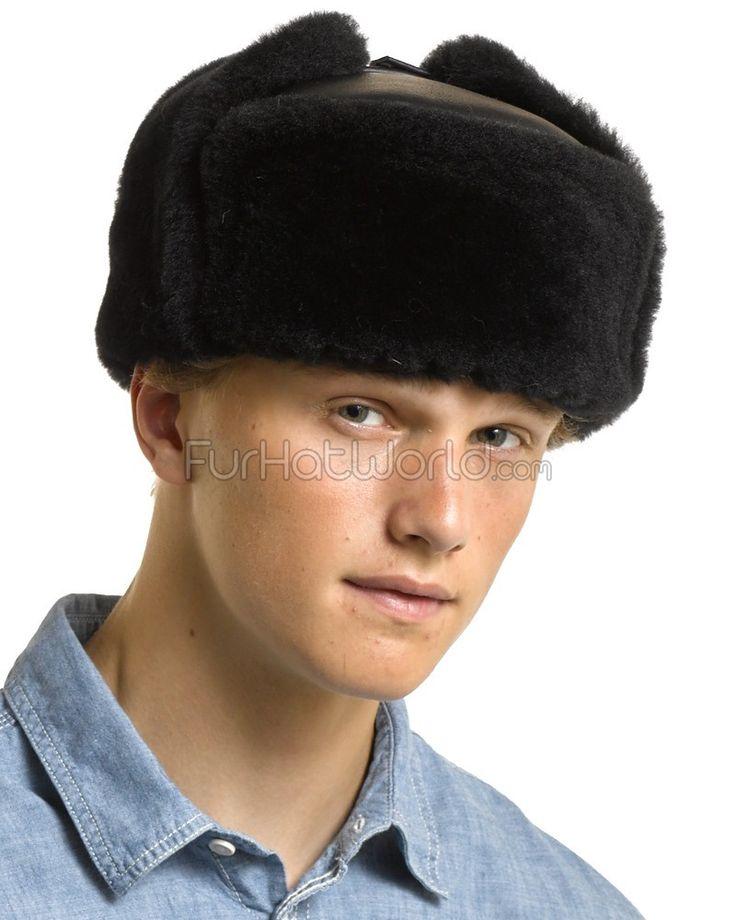 Napa Negro piel de oveja Sombrero ruso: FurHatWorld.com