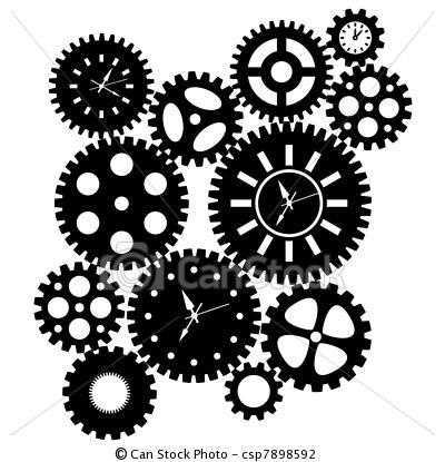 Illustration - temps, horloge, engrenages, ClipArt - Banque d'illustrations, illustrations libres de droits, banque de clip art, icônes clipart, logo, image EPS, images, graphique, graphiques, dessin, dessins, image vectorielle, oeuvre d'art, art vecteur EPS