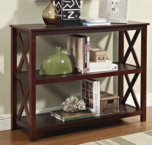 Wood Entryway Table Hallway Sofa Hall Accent Console End Bookshelf Modern Brown #eHomeProducts #Modern