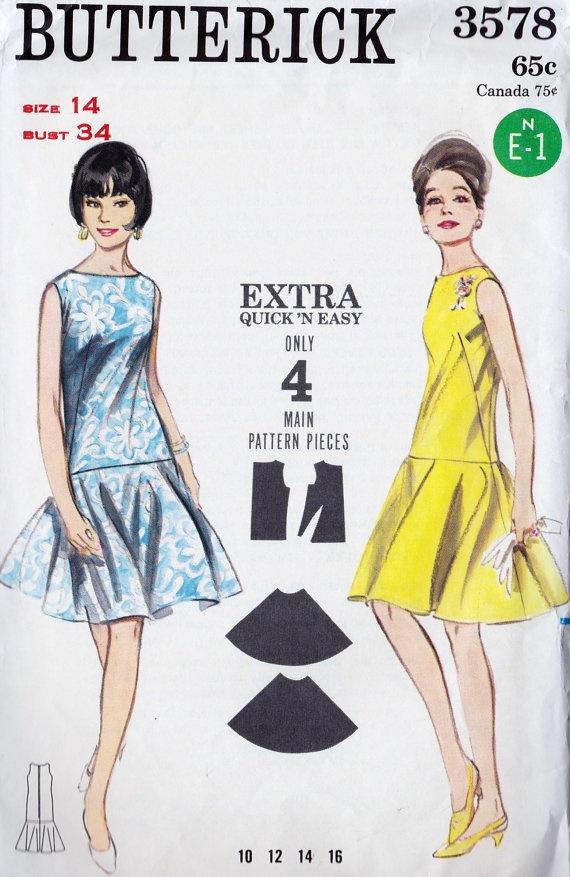 1960s Misses Drop Waist Dress