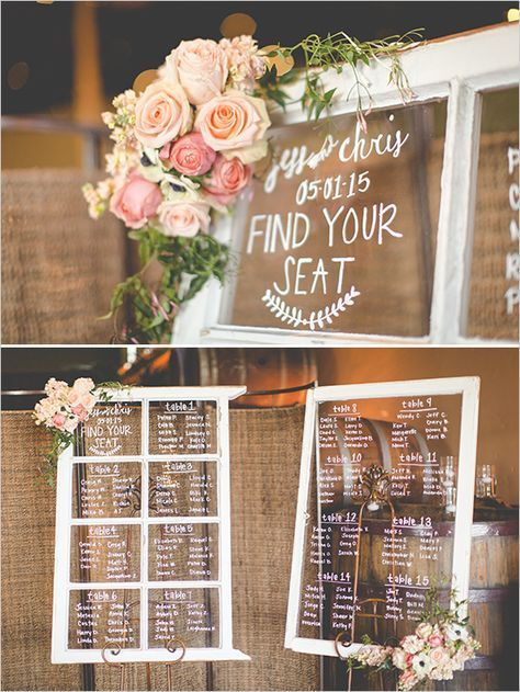 Vintage window seating chart are a great addition to a rustic styled wedding!