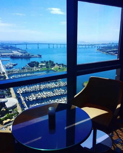 Top of the Hyatt, where martinis mingle with the clouds, 40 stories above the San Diego Bay.