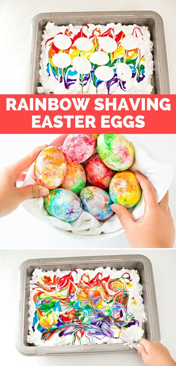 Rainbow Shaving Cream Marbled Easter Eggs. Find out how to make these easy pretty swirled eggs!