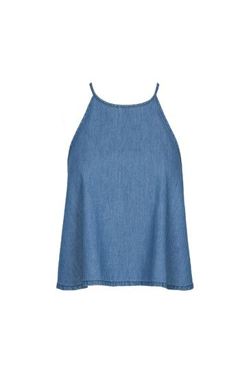 Denim Halterneck Swing Crop Top #newin #musthave #shopping #TALLYWEiJL