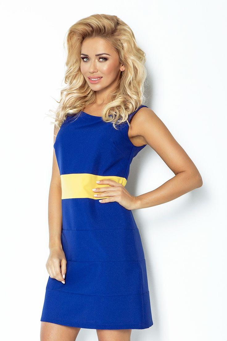 Prosta sukienka bez rękawków w kolorze chabrowym zapinana na kryty zamek. W talii kontrastowy pas w kolorze żółtym.  #modadamska #sukienkikoktajlowe #sukienkiletnie #sukienka #suknia #sukienkiwieczorowe #sukienkinawesele #allettante.pl