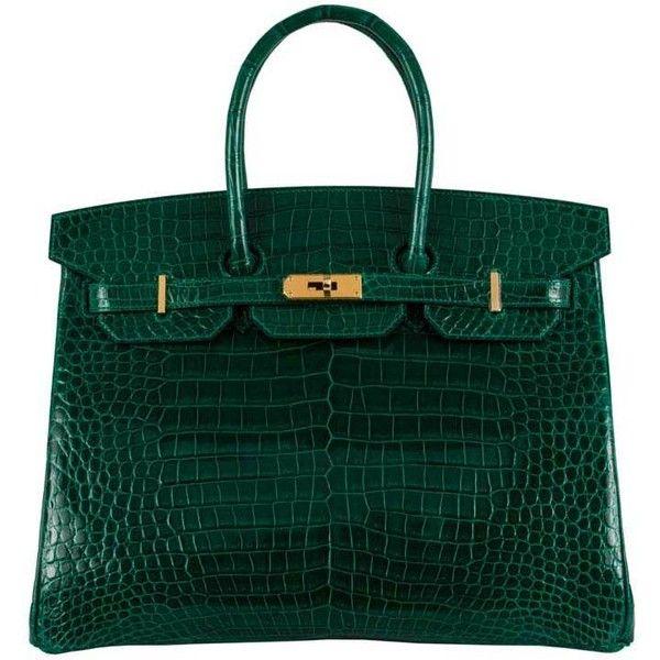 Hermes 35cm Birkin Emeraude Emerald Green Crocodile Bag Gold Ghw ($89,950) ❤ liked on Polyvore featuring bags, handbags, croco handbags, croc handbags, green handbags, emerald green purse and emerald green handbag