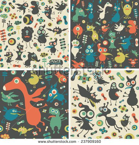 Set of seamless patterns with happy monsters. #monsters #monsterillustration #vectorpattern #patterndesign #seamlesspattern