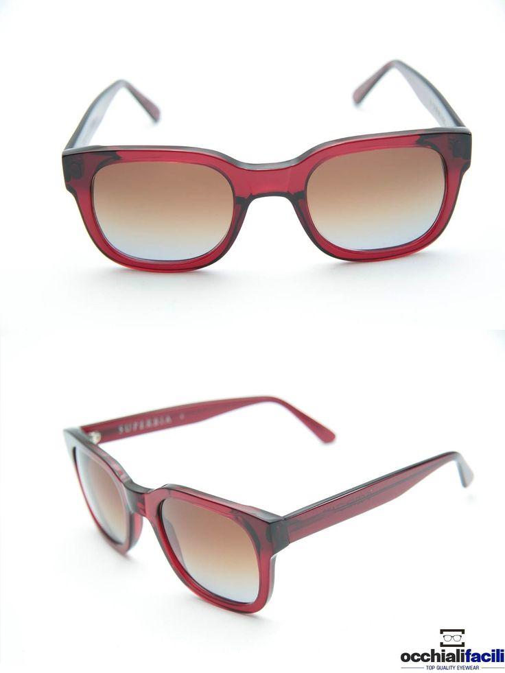 Occhiali da sole G-Sevenstars Superbia, forma geometrica in celluloide bordeaux con lenti bronzo sfumato. http://www.occhialifacili.com/prodotto/occhiali-da-sole-g-sevenstars-superbia-x/