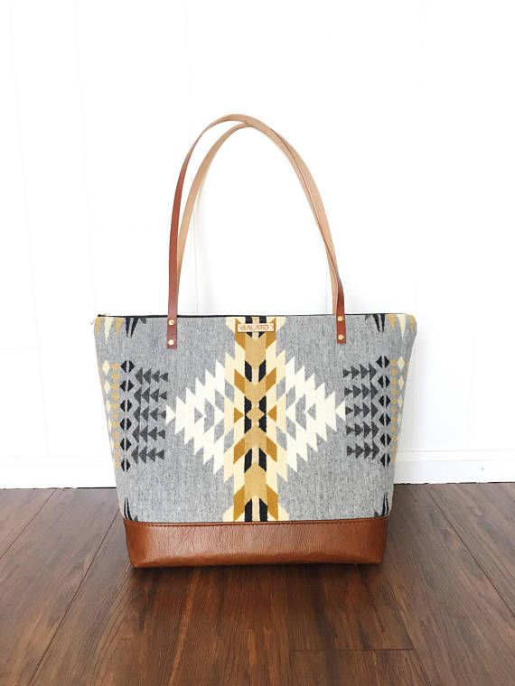 Large Wool Tote  Tribal tote  Leather Tote  Diaper Bag