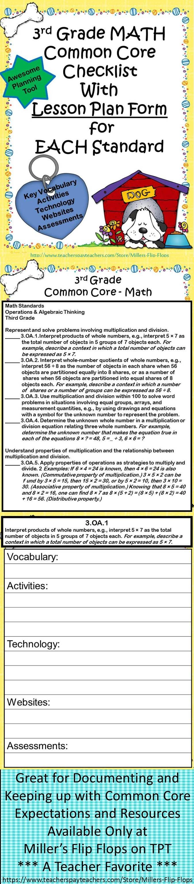 20 best lesson plan formats images on pinterest lesson plan format favorite 3rd grade math common core standards checklists with a lesson planning form template for each standard fun dog theme matches ultimate falaconquin