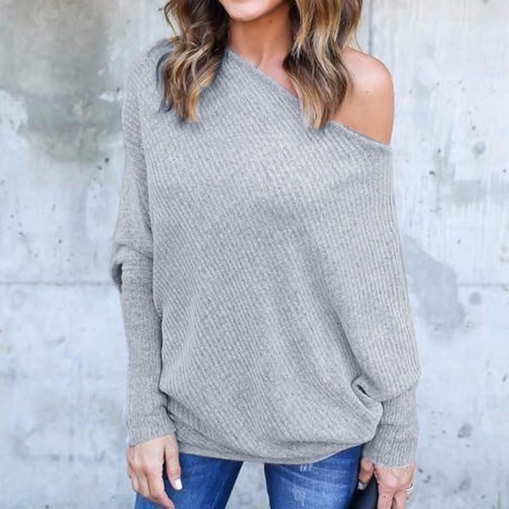 Sexy Off Shoulder Long Sleeve Slash Neck Casual Solid Tops Plus Sizes