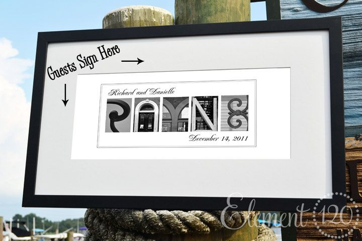 PERSONALIZED Wedding GUEST BOOK Found Letter Photo Art 17x30 Modern Frame With Matting