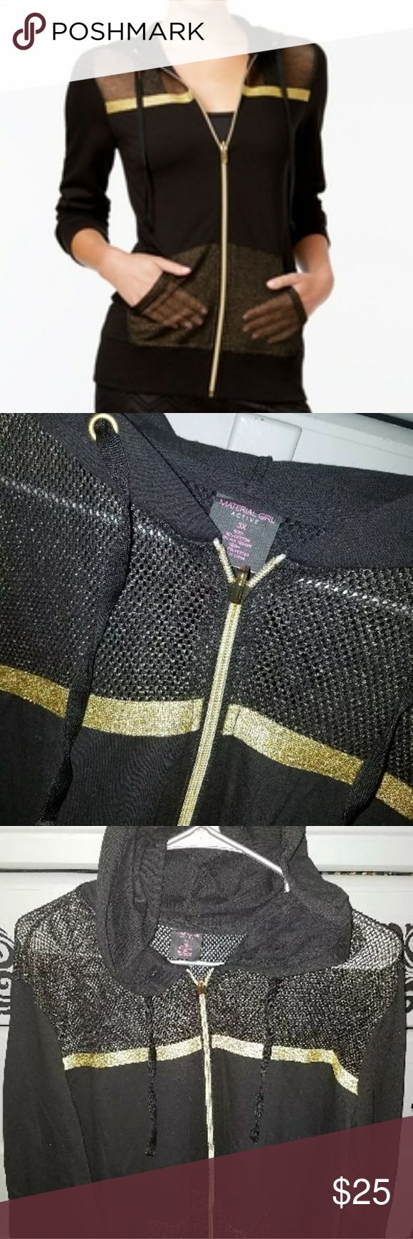 Material Girl WORKOUT Zip Hoodie ☆ Black & Gold BRAND NEW WITH TAGS ♡ BLACK & GOLD WITH MESH ZIP-UP WORKOUT HOODIE. Lightweight & airy, so to wear during or after a workout. ☆ The Pockets, Top Front & Back of jacket are constructed with a gold mesh like fabric. Not only does it look incredibly sexy, but it allows your body to breathe through the material. Size Women's 3x but seems to run a little smaller. Material Girl Tops Sweatshirts & Hoodies