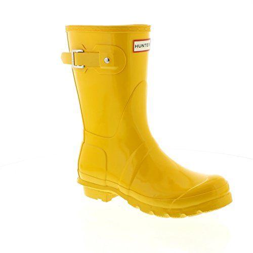 New Hunter Boot USA Original Short Gloss Yellow 8 Womens Boots