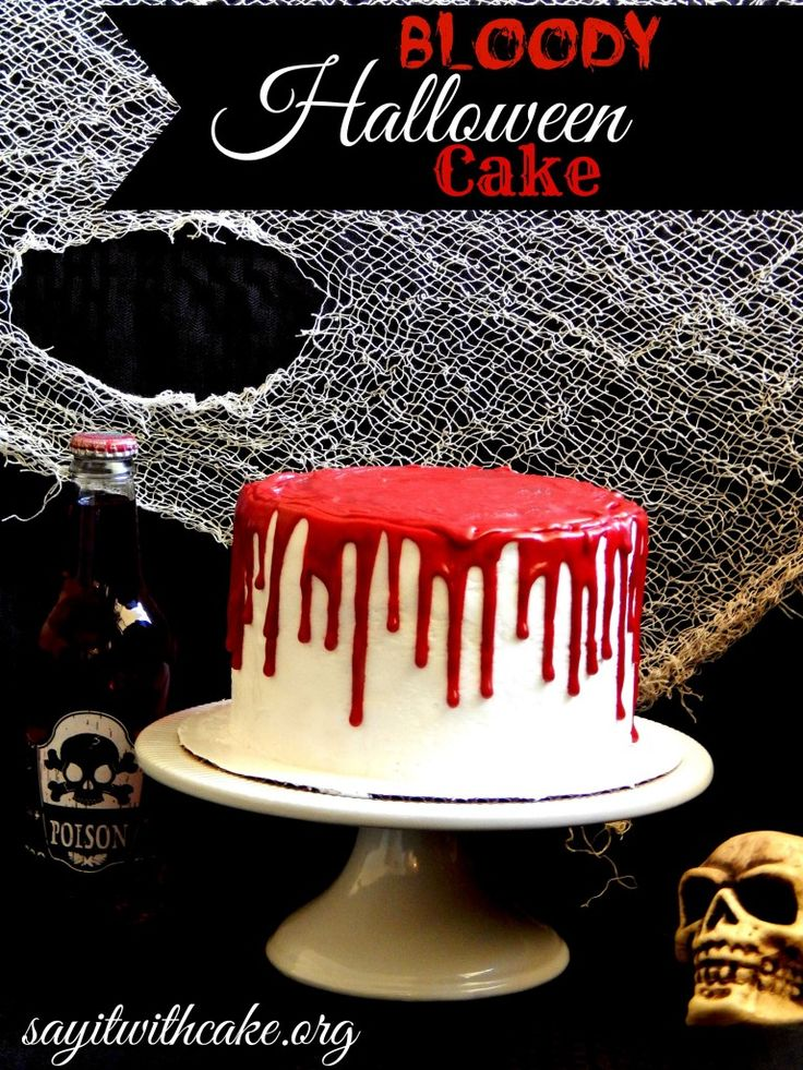 "Bloody #Halloween Cake. Red Velvet Cake with an easy chocolate melt and cream ""blood"" topping."