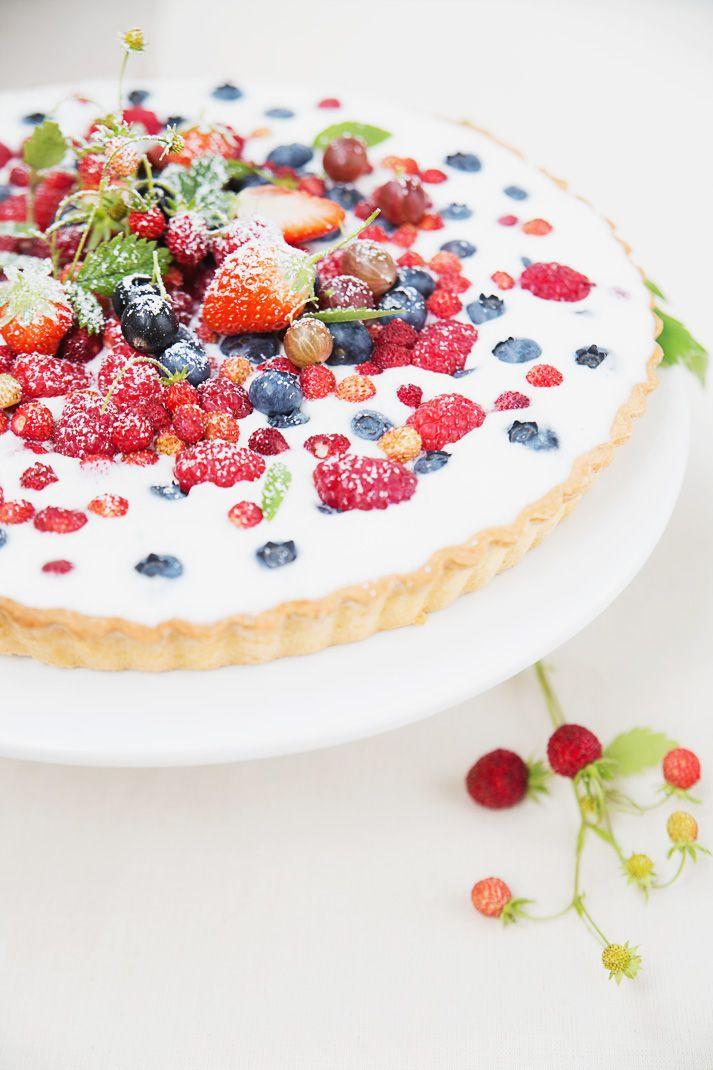 wild berries and yogurt tart.