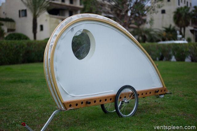 The Woodenwidget 'Foldavan' bicycle caravan. Here it is in 'Road' mode. At just 30 kilos it is easy to tow.