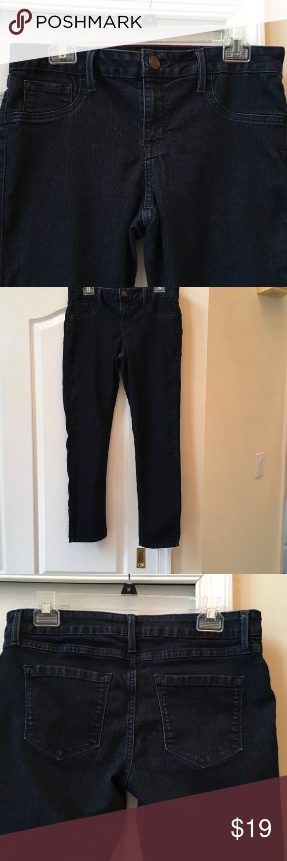 Ana Petite skinny jeans, 12 P Great dark denim Ana jeans. Mid rise in a comfy Cotton/Poly/Spandex blend. I Sean measures 28, waist is 16 across front. Great condition, like new! ana Jeans Skinny