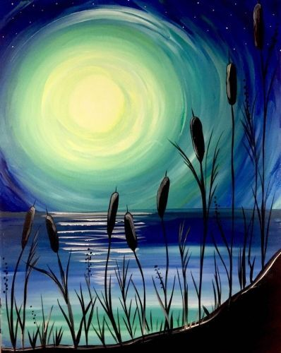 Paint Nite Beach Moonlight Painting