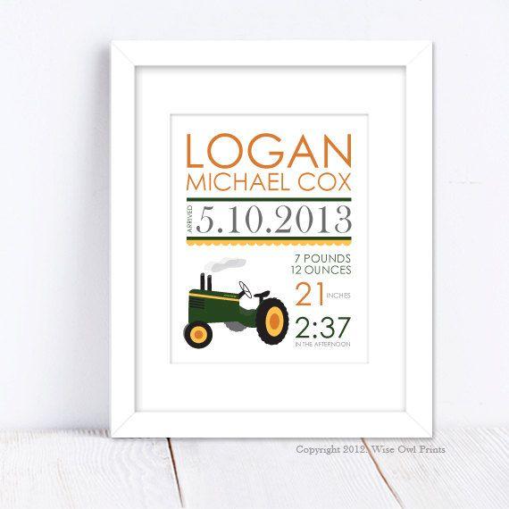 Nursery Wall Art Print Custom (Baby Name Print and Birth Stats) 8x10 John Deere Tractor, Baby Shower Gift
