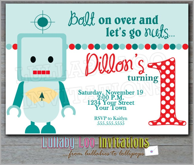 190 best images about Robots theme birthday party – Robot Party Invitations