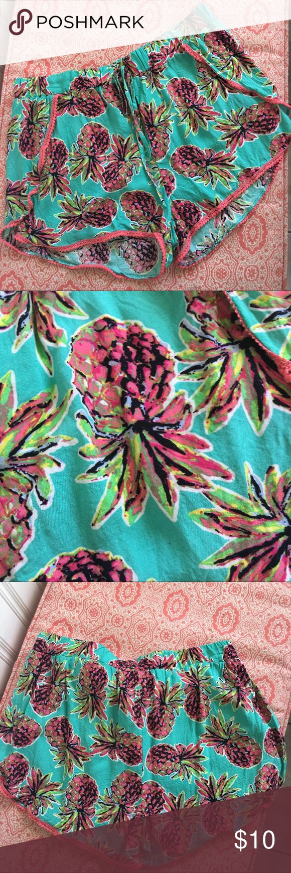 Tropical Pineapple print faux wrap shorts Worn and washed once, these shorts are the perfect throw on and go summer staple! Size Large (juniors) Shorts