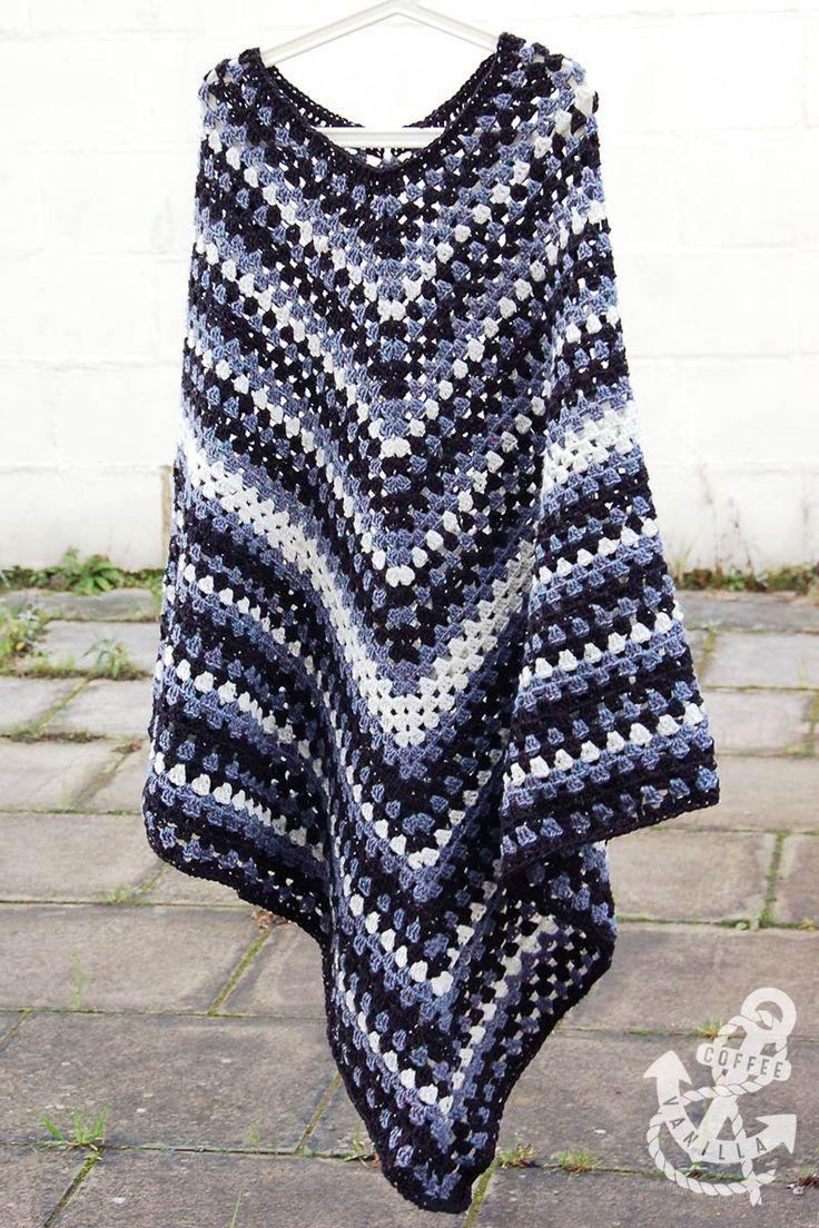 Free Crochet Pattern Mens Poncho : Mens Classic Poncho - Free Crochet Pattern Langat ...