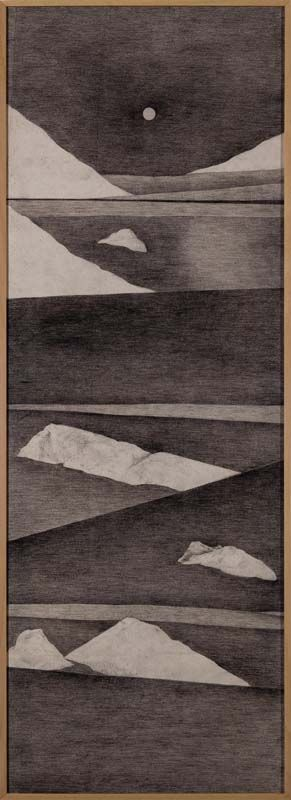Minam Apang Untitled | Moon Mirrors Mountains Series | 2014 | Charcoal on cloth | 59.5 x 20.75 in.