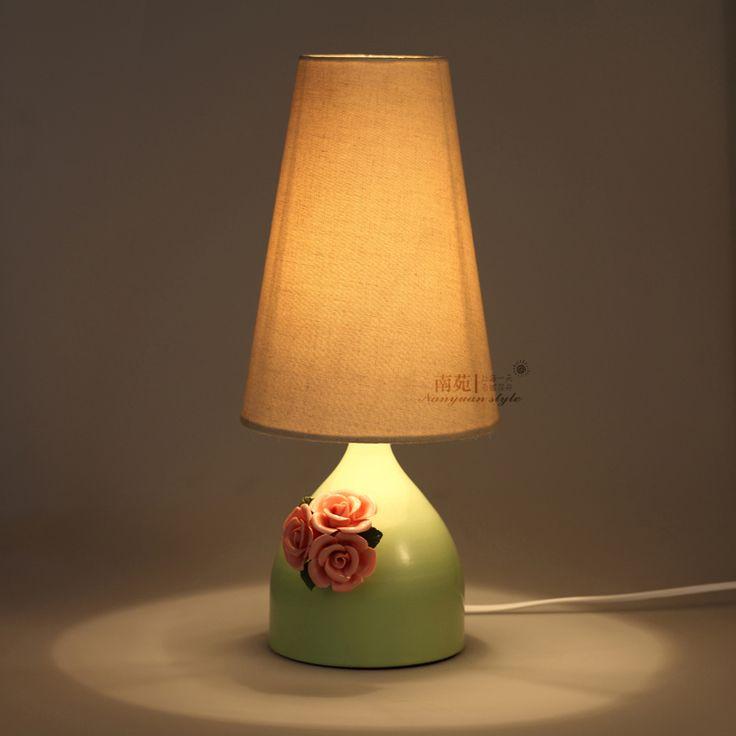 Настольная лампа корейский американские современный и контракт зеленый сельский стиль спальни цветник свадьба исследование внутреннего освещения