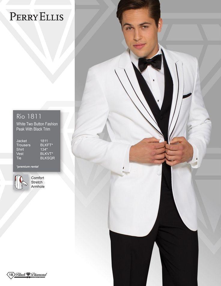 Perry Ellis Rio White Two Button Fashion Peak With Black Trim