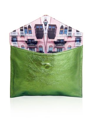 Venezia Rosa Classic Envelope Clutch - Metallic Green.   Tell me about it: A distinct Venetian-canal inspirtation, the Venezia Rosa print clutch is a timeless piece. Ideal as a dazzling evening bag, the metallic green leather is a guaranteed show-stopper that is efforlessly versatile and a sure conversation starter.  Features:      100% Leather     Interior: Cotton     Magnetic clasp     Designed & made in Australia  Dimensions:      W: 27.5cm     H: 20cm     D: 2cm