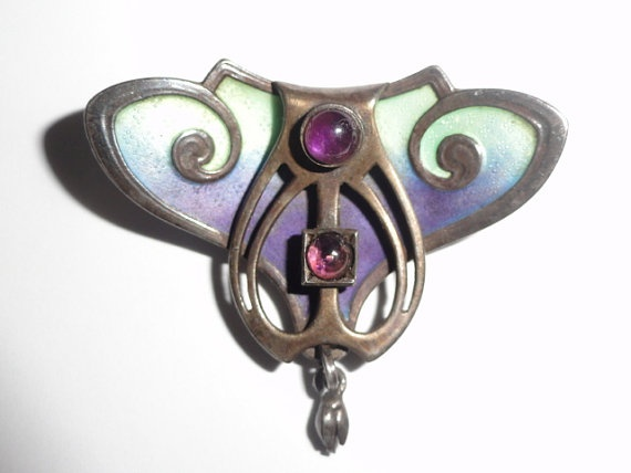 Jugendstil Art Nouveau Enamel Amethyst Brooch 900 by Avujewelry