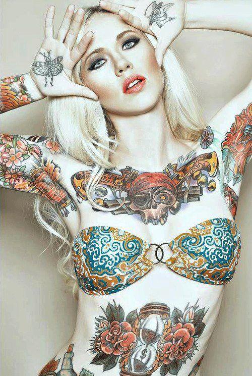 Sexy tattooed girl like repin follow great tattoos for Naked tattooed girl