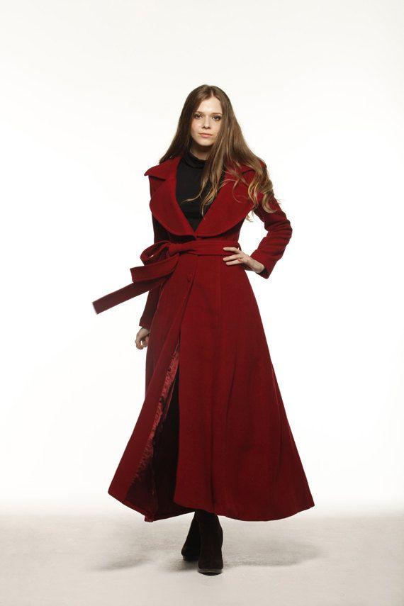 Vino cappotto rosso grande risvolto donne lana di Sophiaclothing