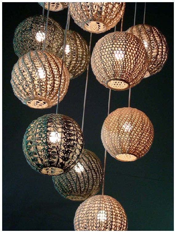 crochet light pendants