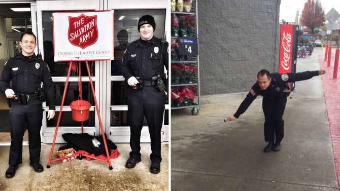Officer Sean Bulow from the Cleveland Police Department did more than just ring the bells for a Salvation Army Kettle Drive.