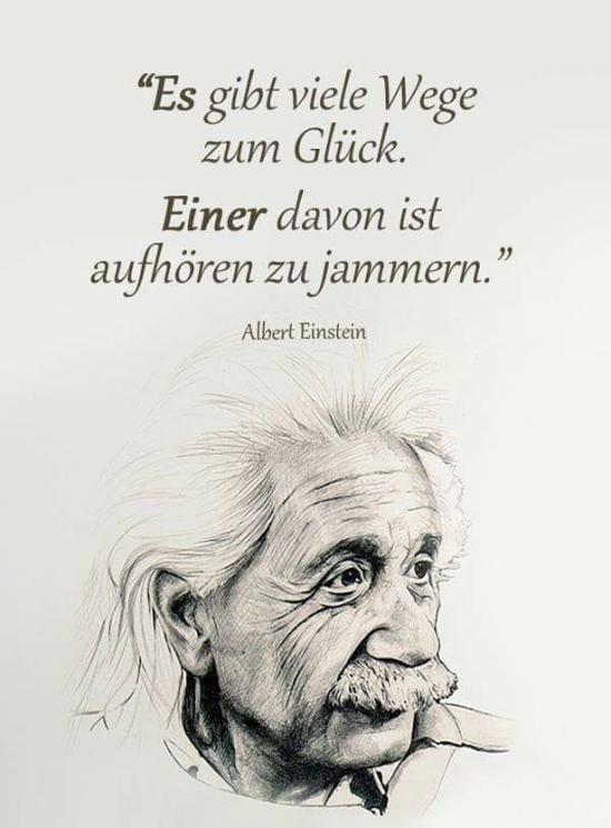 Zitat Albert Einstein: Es gibt viele Wege zum Glück. Einer davon ist aufhören zu jammern.
