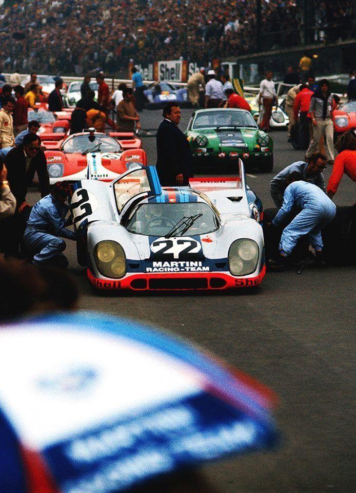 1971 Le Mans   24 Heures du Mans   24 Hours of Le Mans   Circuit de la Sarthe   Oldest sports car endurance race 1971 917K   Kurzheck   Short Tail   Magnesium Frame   White Car 22 with Martini Racing...