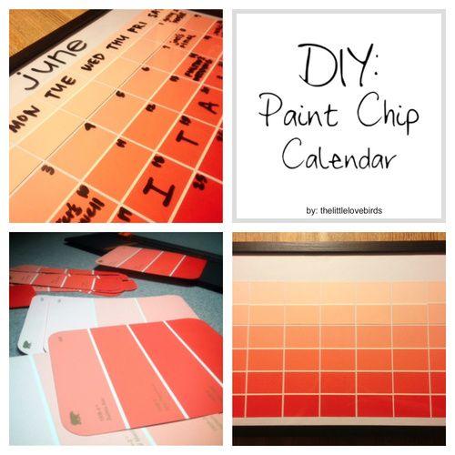 DIY Paint Chip Calendar #diy #calendar