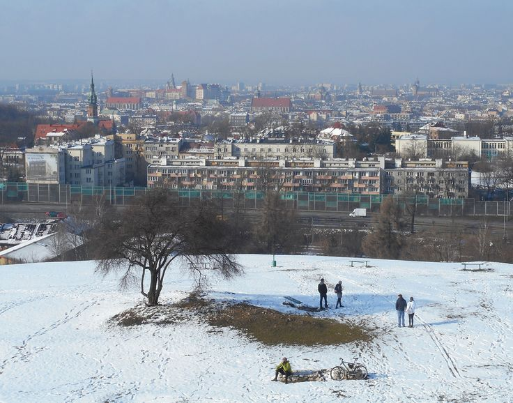 The panorama of  Krakow seen from Krakus Mound in Podgorze district, February 2016
