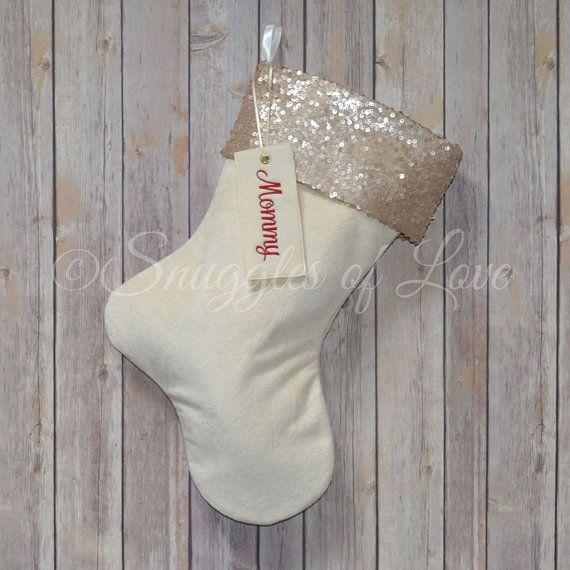 Monogrammed Stocking - Personalized Minky Velvet Christmas Stocking - Cream Velvet & Champagne Sequins - Champagne Stockings